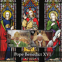 Bequia Gren St Vincent Stamps 2014 MNH Pope Benedict XVI Stained Glass 2v S/S