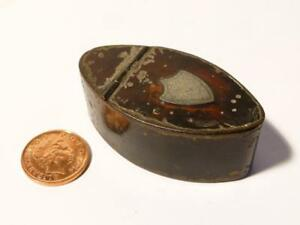 c1720 Pocket SNUFF Grater Navette John Hanbury Pontypool Tin RARE Box