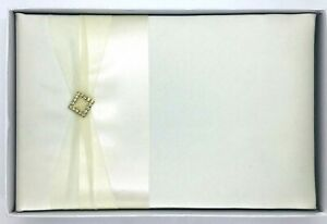 Lillian Rose Guest Book Off White Sash With Rhinestone & Gold Clasp In Box