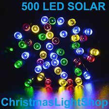 500 Solar LED MULTI Flashing 39.9m Strand Fairy Christmas Garden Lights Outdoors
