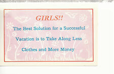 Girls! Successful Vacation Take Less Clothes and More Money Comic Postcard 81516