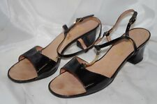 Vintage Miramonte Black Patent Leather Sandals w Chain Shoes Euc Italy 8 M