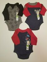 Garanimals Boys Infant 0-3 M *3 PACK* Koala + Space + Robot  One Piece Bodysuits