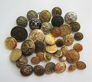 Military Buttons Vintage Mixed Lot 37 Brass Metal Shirt Coat Jacket Sewing