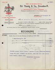 DRESDE-A., facture 1909, Papier-U. Papeterie-acte Ed. thunig & Co.