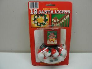 NEW BATTERY OPERATED 12 SANTA FACE LIGHTS MERRY CHRISTMAS