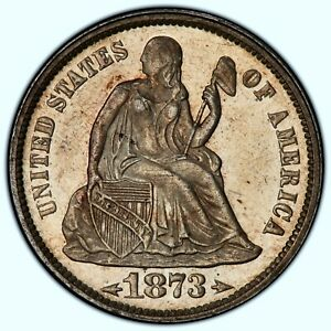 1873-P SEATED LIBERTY DIME ✪ PCGS MS-62 ✪ 10C SILVER WITH ARROWS WHITE ◢TRUSTED◣