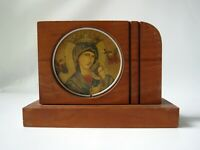 Sainte Anne de Beaupre Vintage Saint Souvenir Quebec Wood Icon Art Deco Style