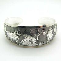 Schönheit Tibet Tibet Silber Weiß Tiger Totem Armreif Manschette Armband YG