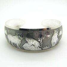 Beauty Hot New Tibetan Tibet silver White Tiger Totem Bangle Cuff Bracelet NJUS