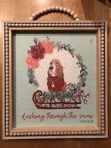 "The Pioneer Woman Charlie Basset Hound Dog Sled Frame Wall Decor ""Damaged Spot"""