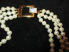 Layered Statement Necklace Gold Tone Crystal Imitation Pearls Layered Elegant