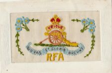 ROYAL FIELD ARTILLERY, WITH RFA & UBIQUE ARTILLERY MOTIF : WW1 SILK POSTCARD