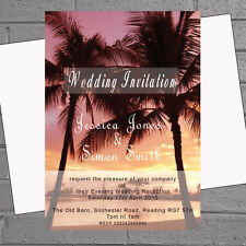 12 x Palm Tree Sunset Beach Wedding Evening Reception Invites | H0894