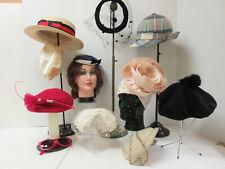 Lot of 10 Vintage Ladies Hats Fascinators Felt Velvet Veils Wool