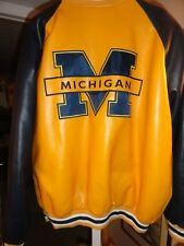 Michigan Wolverines Leather Jacket Mens XL Black//Yellow/Blue XL Coat  G-lll