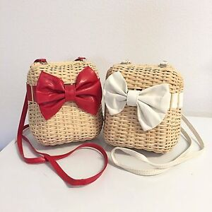 Clearance! Handmade Women's Straw Shoulder Bags  (red+white Pack of 2)