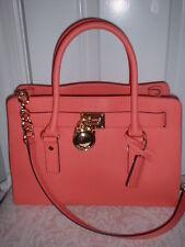 NWT Michael Kors Hamilton Leather East West Satchel Handbag Pink Grapefruit