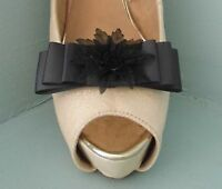 2 Dark Grey Bow Clips for Shoes with Black Flower Centre