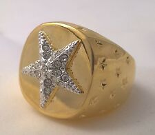 G-Filled Mens 18k gold simulated diamond ring starfish twinkle stars galaxy huge