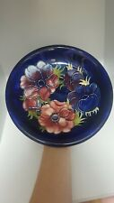 Signed W Moorcroft Plate Anemone Flower Pattern