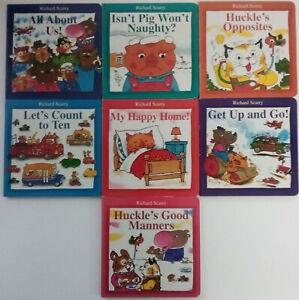 Richard Scarry Set of 7 Board books, Opposites, Count, Manners, Happy Home,