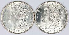 1878 & 1921 First & Last Year Set of Morgan Silver Dollars S$1 Vintage BU Unc