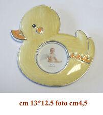 Bomboniera battesimo portafoto cornice in metallo modello papero anatra pulcino