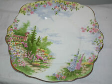 VINTAGE 30S ROYAL ALBERT KENTISH ROCKERY CHINA CAKE PLATE 9 INCH  ENGLAND