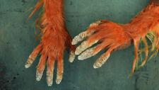ORANGUTAN HANDS GLOVES LATEX FUR FANCY DRESS MONKEY APE