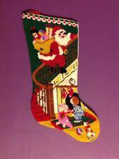 Vintage Handmade Cross Stitched Needlepoint holiday Christmas Stocking Santa