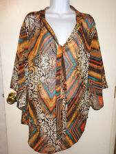 women's mult-color semi-sheer top by California Bloom XL NWT Beautiful!