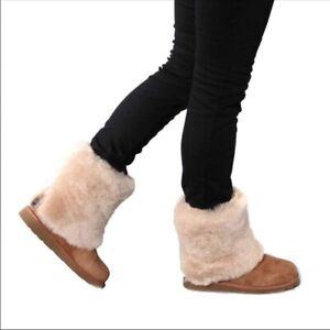 UGG Women's MAYLIN 3220 Boot (CHESTNUT Waterproof Suede, Sheepskin Lining)
