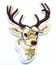 Rein Deer Iron On Patch- Embroidered Appliques Animal Xmas Safari Zoo Crafts