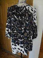 Womens Chico's Size 0 (4 6) White Brown Black Gray Tunic Top