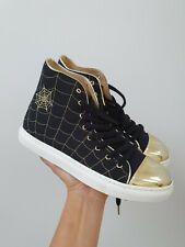BN Womens Charlotte Olympia Web Black Canvas Metallic Hi Tops Sneakers Size 36