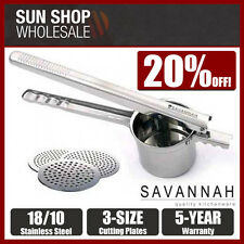 100% Genuine! SAVANNAH 18/8 Stainless Steel Potato Ricer w/ 3 Discs! RRP $69.95!