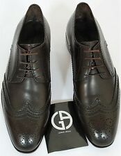 Giorgio Armani Shoes 8.5 D US Brown Leather Men's Wingtip Derby Lace-Up 41.5 NEW