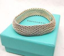 Auth Tiffany & Co Sterling Silver Somerset Mesh Bracelet Bangle Flex 7.25 w/ Box