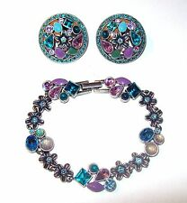 Vtg Teal Blue Pink Rhinestone Bracelet & Button Earrings Set Flower Square Clip