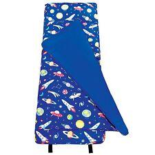 Boys Outer Space Nap Mat Kids Blue Blanket Pillow Travel Sleeping Bag Rocket New