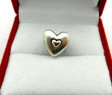 "Vtg Pandora  HEART Charm Sterling Silver ALE 925 & 14K ""Happy Anniversary"""