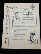 Cast Newsletter Mickey's Coverall November 1990 Thanksgiving Trivia
