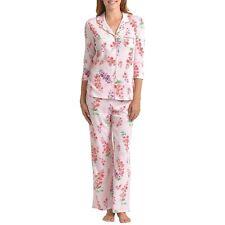 Karen Neuburger Womens L 3/4 Sleeve Button Up Pant Pajama Set SouthernBelle Pink