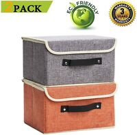 2 Pack Storage Boxes Linen Collapsible Cube Set Organizer with Lid (Grey&Orange)