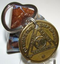 16 year Heart key chain ring Bronze medallion Token Chip Coin Sobriety Sober