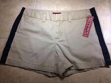 Sz 12 MERONA Khaki Tuxedo Shorts Tan Brown Black Stripe Summer NWT $20 Retail
