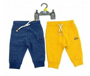 Ex Mothercare  Boy 2 Pack Dino Mustard Navy Jogging Bottoms Trousers  2/3 Years