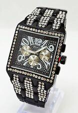 Black Jet Cubic Zirconia Geneva PLATINUM Bling Iced Out Wrist Watch B#362