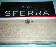 Sferra Lindsay Border Twin Flat Sheet White/Mushroom Scroll 406 TC Percale New